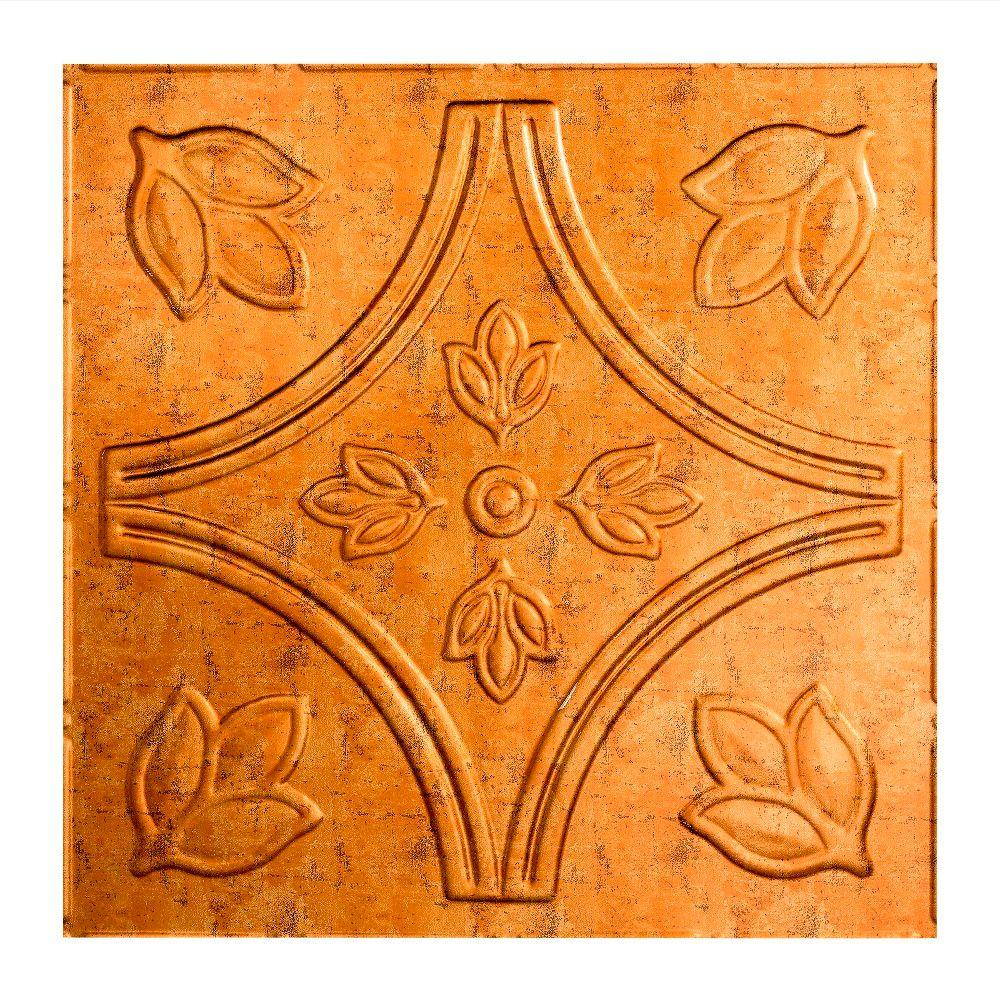 Fasade Traditional 5 - 2 ft. x 2 ft. Lay-in Ceiling Tile in Muted Gold
