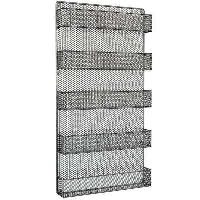 5-Shelf Gray Wall Mount Spice Rack Organizer