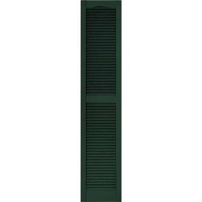 15 in. x 80 in. Louvered Vinyl Exterior Shutters Pair #122 Midnight Green