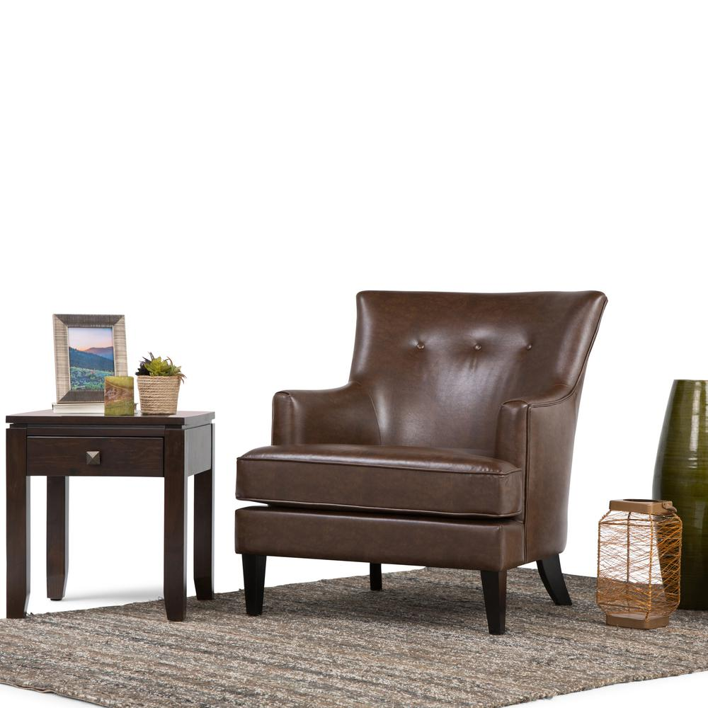 Simpli Home Galway Distressed Brown Leather Club Arm Chair-AXCCHR ...