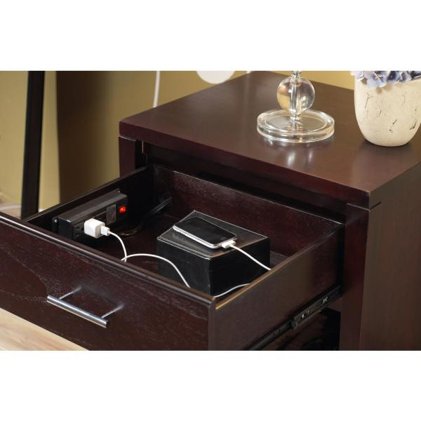 Unbranded Nevis 1 Drawer With Charging Station Espresso Nightstand 26 In H X 23 In W X 19 In D Nv2381p The Home Depot,Nordli Bed Frame With Storage Instructions