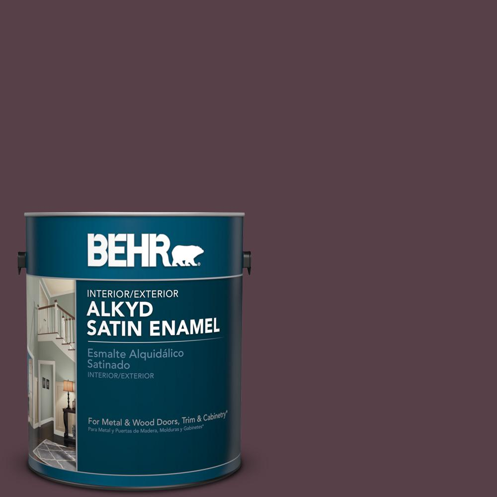 1 gal. #HDC-CL-07 Dark Berry Satin Enamel Alkyd Interior/Exterior Paint