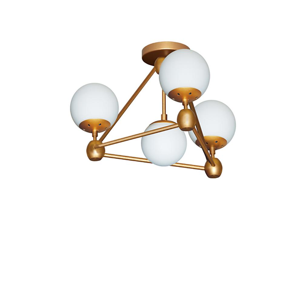 4-Light Gold Semi-Flushmount with Frosted Glass