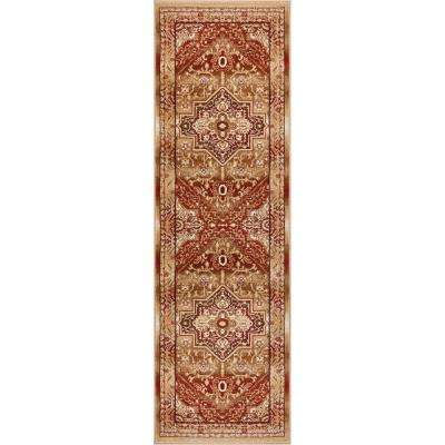 Barclay Kaibab Red 3 ft. x 10 ft. Traditional Medallion Runner Rug