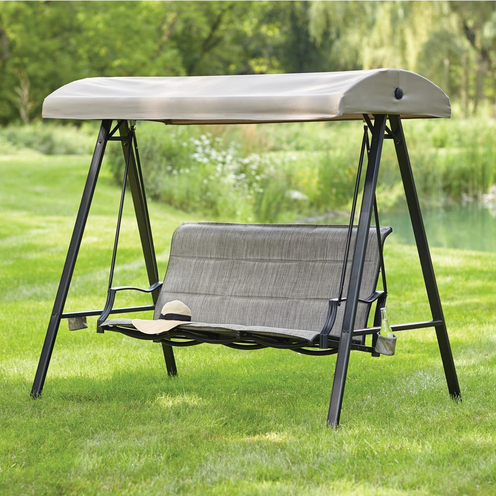 Statesville 3-Person Padded Sling Outdoor ... : 3 seater garden swings with canopy - memphite.com