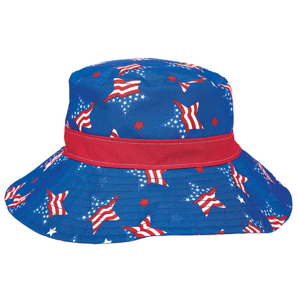 217a91bbd3d Amscan 4.5 in. x 10 in. Patriotic Star Bucket Hat (2-Pack)-250575 ...