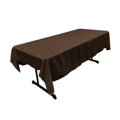 60 in. x 90 in. Brown Polyester Poplin Rectangular Tablecloth