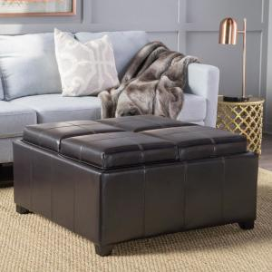 Pleasing Noble House Dartmouth Espresso Brown Bonded Leather Tray Top Caraccident5 Cool Chair Designs And Ideas Caraccident5Info