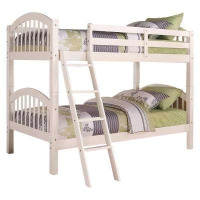 Beth White Wood Twin over Twin Country Style Convertible Bunk Bed