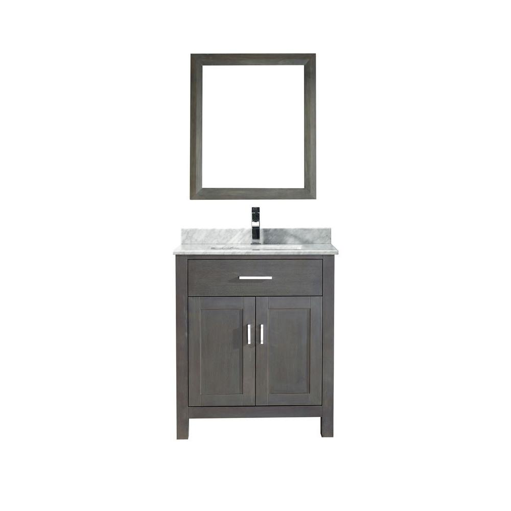 Studio Bathe Kalize 30 in. Vanity in French Gray with Marble Vanity Top in Carrara White and Mirror
