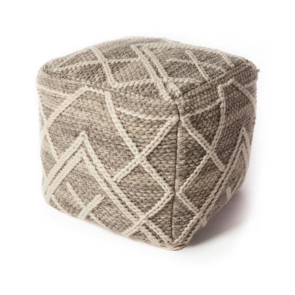 Knits Grey Geometric Hypoallergenic Polyester 18 in. x 18 in. Throw Pillow