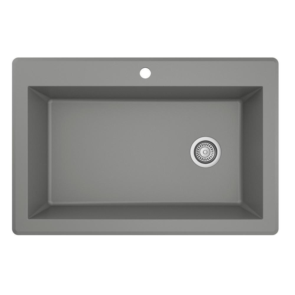Drop-In Quartz Composite 33 in. 1-Hole Single Bowl Kitchen Sink in Grey