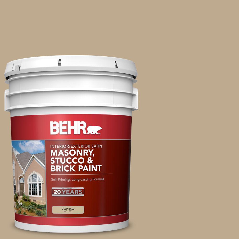 5 gal. #MS-44 Autumn Tan Satin Interior/Exterior Masonry, Stucco and Brick Paint