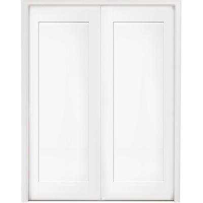 48 in. x 80 in. 1-Panel Primed White Shaker Solid Core Wood Double Prehung Interior Door with Bronze Hinges