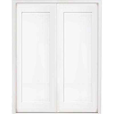 60 in. x 80 in. 1-Panel Primed White Shaker Solid Core Wood Double Prehung Interior Door with Nickel Hinges
