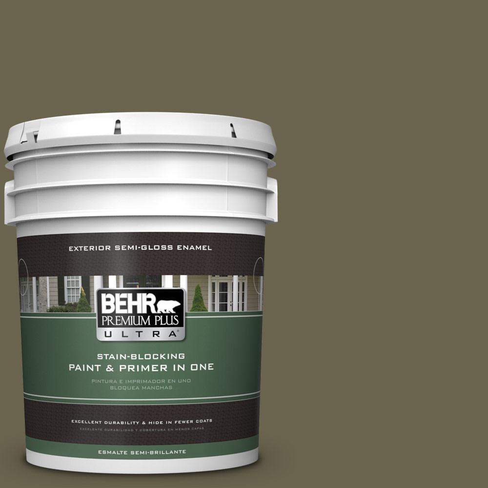 5 gal. #HDC-FL14-8 Deer Trail Semi-Gloss Enamel Exterior Paint