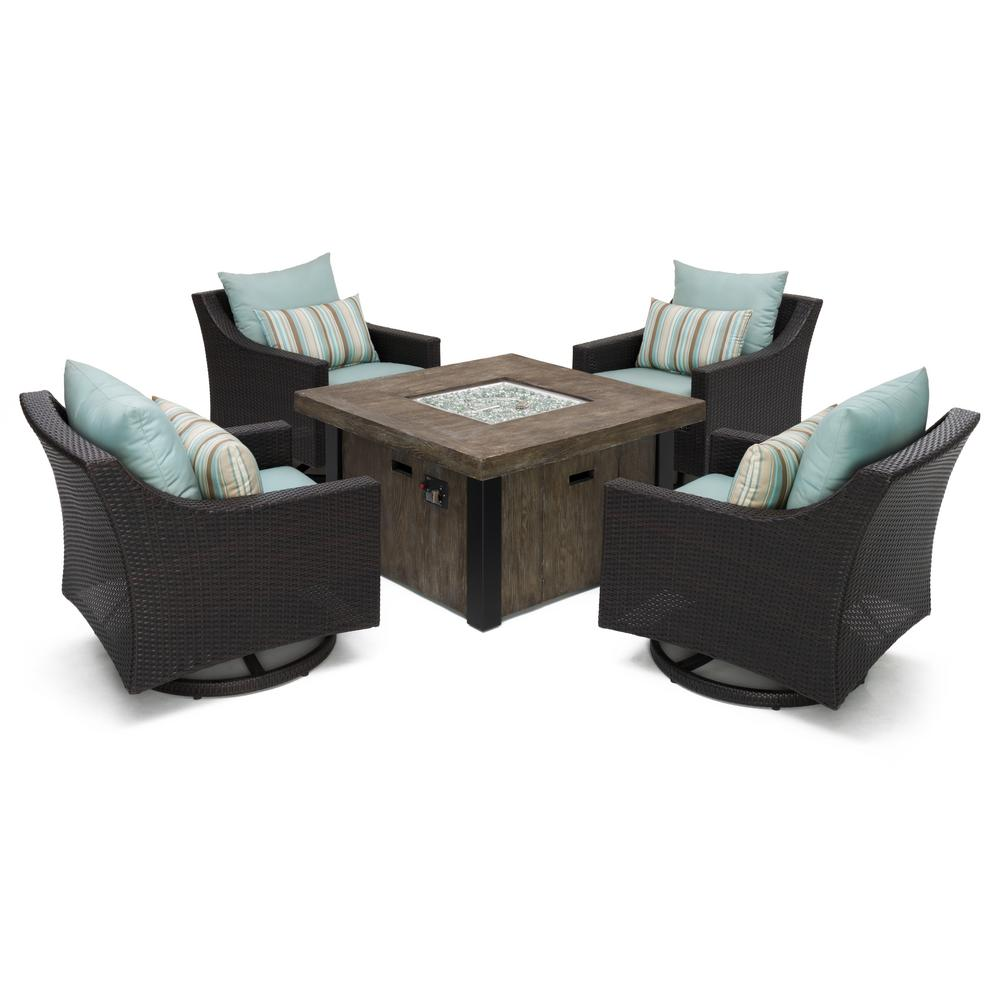 Wicker Fire Pit Conversation Set Blue Cushions