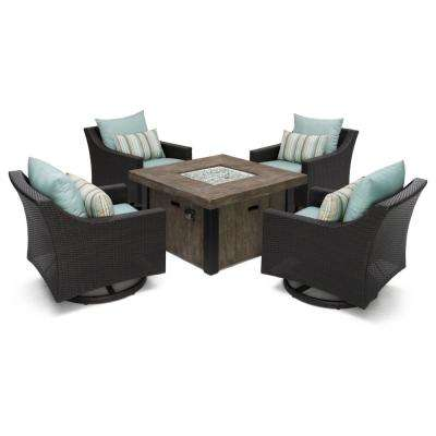 Deco 5-Piece All-Weather Wicker Patio Fire Pit Patio Conversation Set with Bliss Blue Cushions