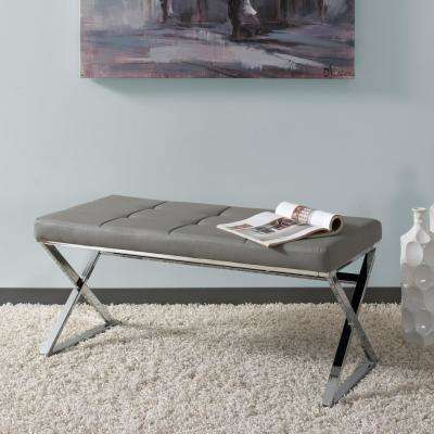 Huntington Modern Grey Leatherette Bench with X-Shape Chrome Base