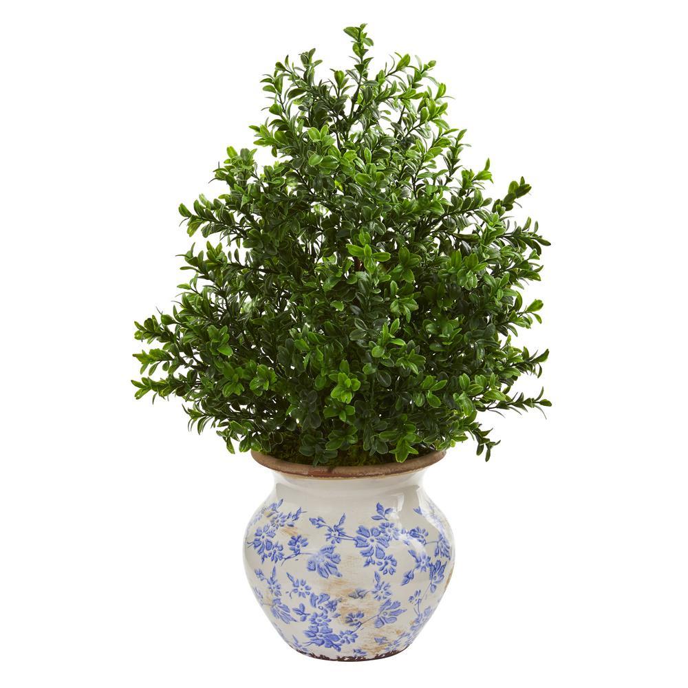 Indoor 21 in. Boxwood Artificial Plant in Decorative Vase Indoor/Outdoor
