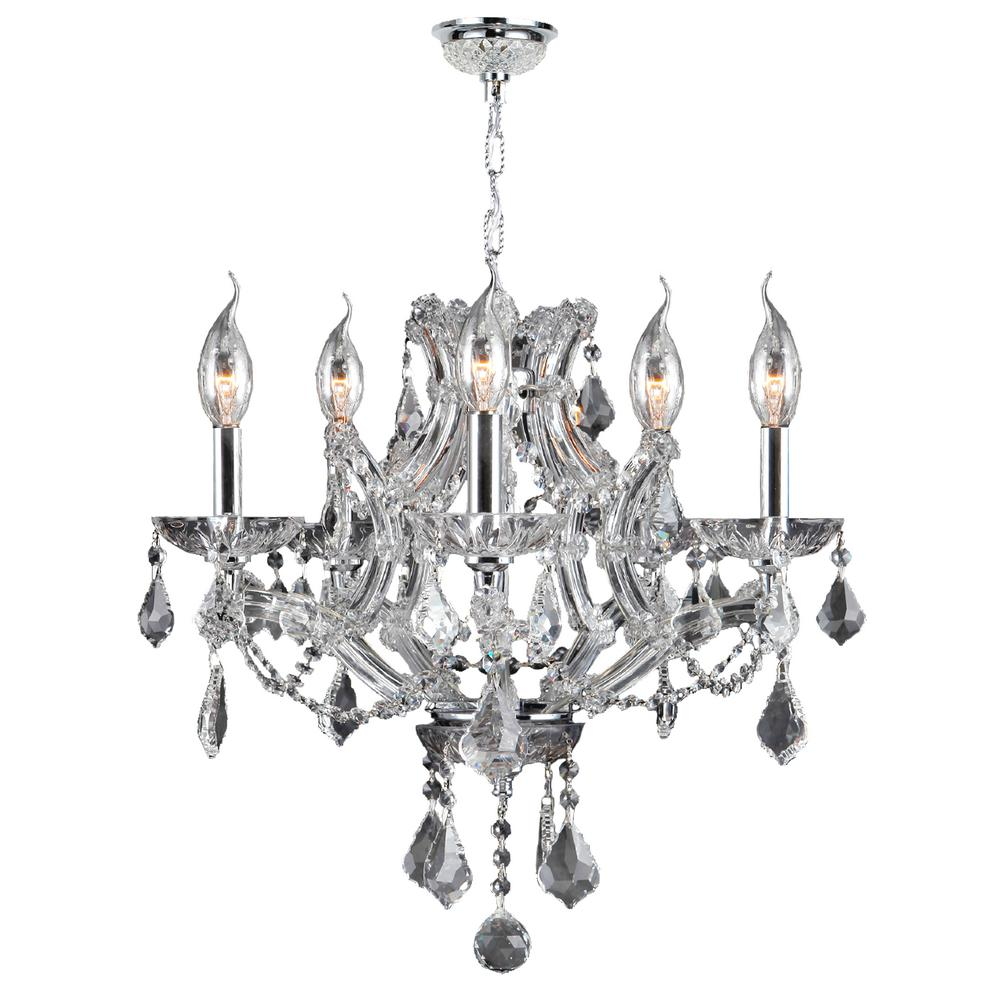 Lyre 5-Light Polished Chrome and Clear Crystal Medium Chandelier