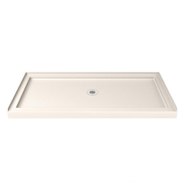 SlimLine 36 in. D x 60 in. W. Single Threshold Shower Base in Biscuit with Center Drain