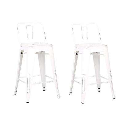 Modern 30 in. Distressed White Rustic Metal Barstool with Bucket Back (Set of 2)