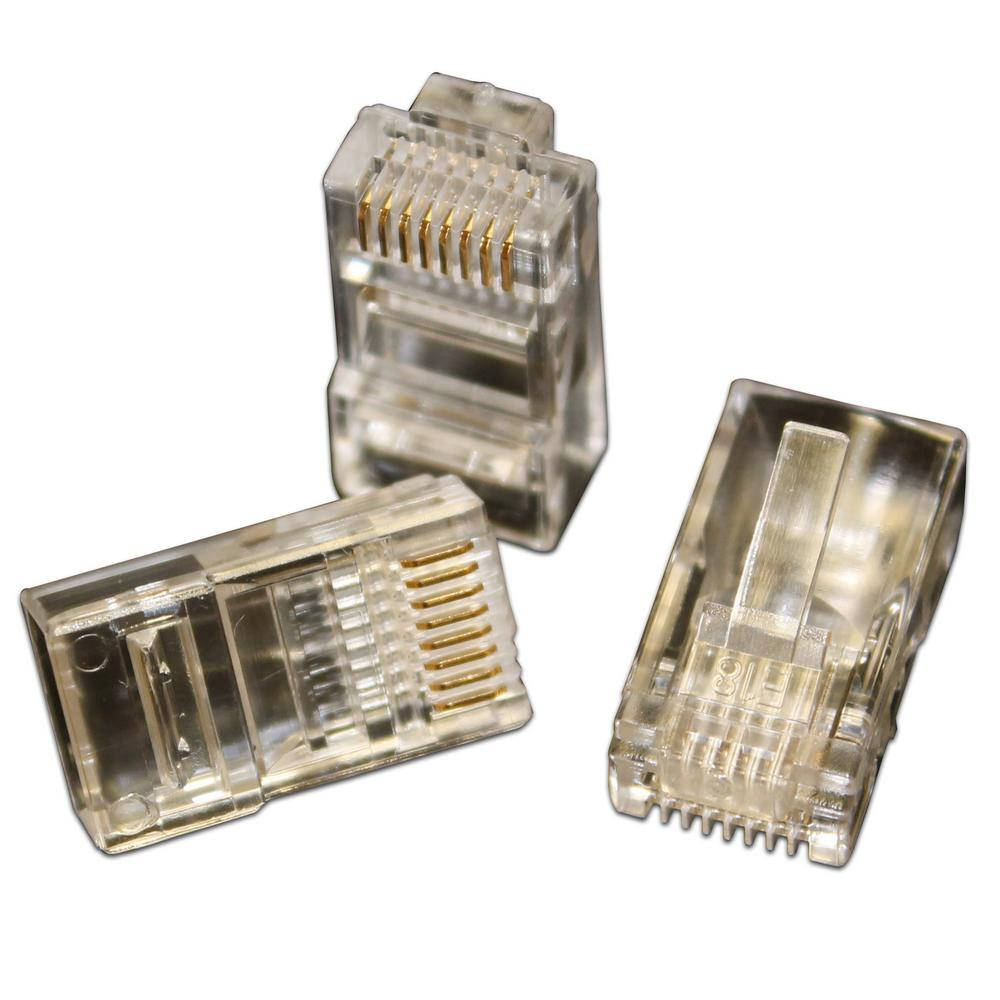 Eclipse Quikthru Rj45 Cat5 5e Connectors 50 Pack 902 549 The Cat 5 Wiring Diagram Wall Jack Keystone Prise