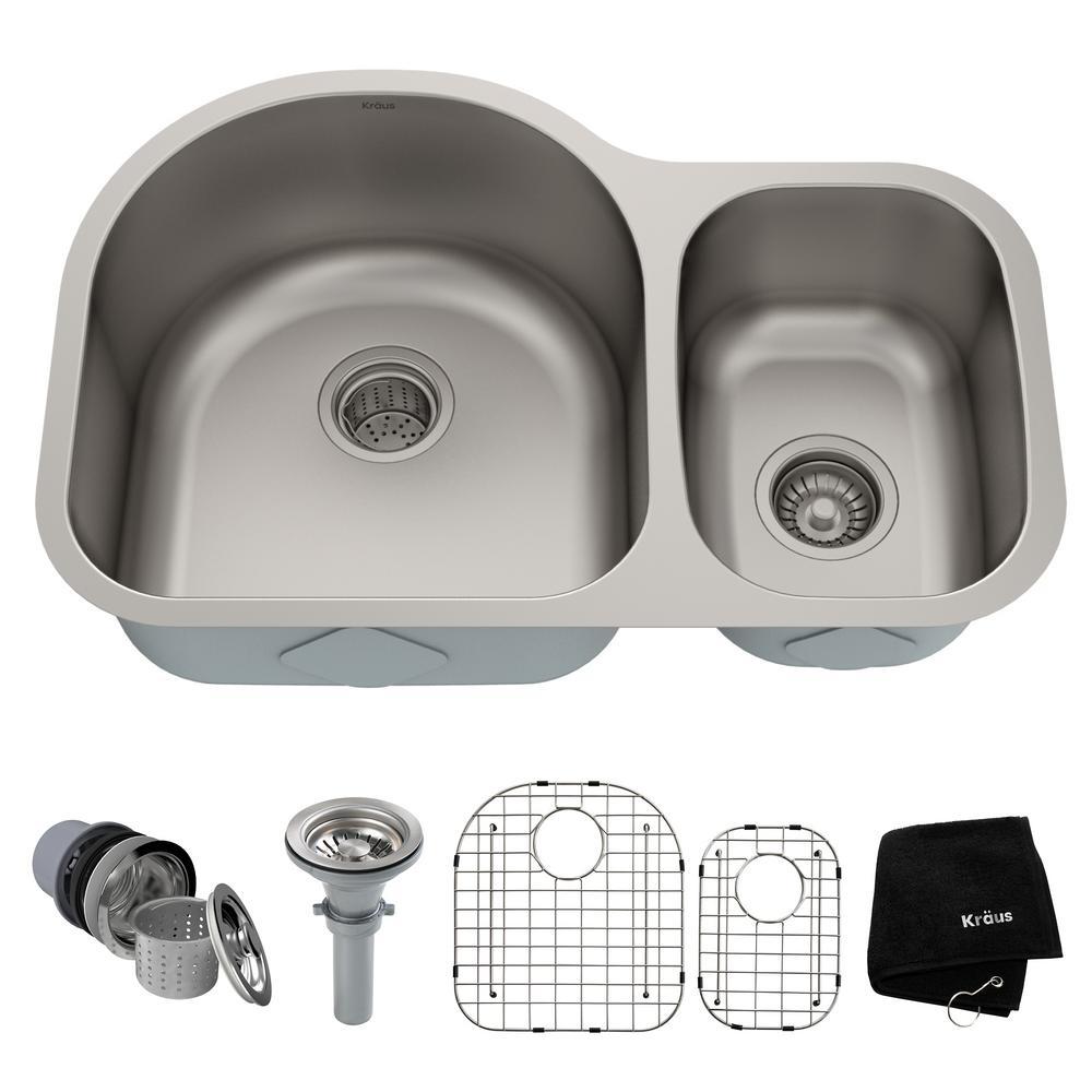 KRAUS Premier Undermount Stainless Steel 30 in. 60/40 Double Bowl Kitchen Sink