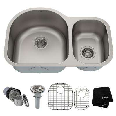 Premier Undermount Stainless Steel 30 in. 60/40 Double Bowl Kitchen Sink