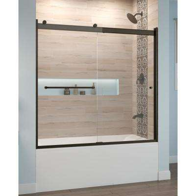 Rotolo 60 in. x 57 in. Semi-Frameless Sliding Tub Door in Oil Rubbed Bronze with Handle