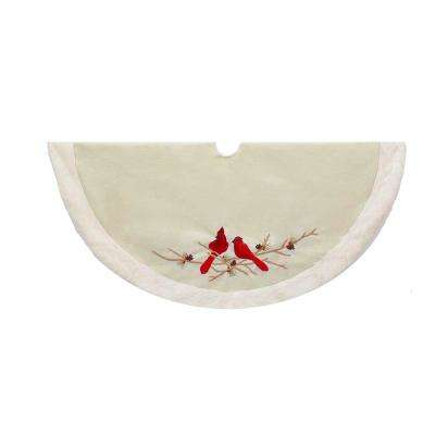 kurt adler 48 in fabric cardinal treeskirt with faux fur trim - White Christmas Tree Skirts