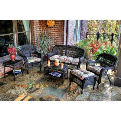 Portside Dark Roast 6-Piece Wicker Patio Seating Set with Zoe Citrus Cushions
