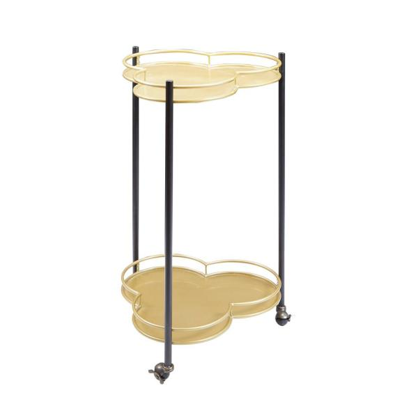 Silverwood Felicity 2-Tier Clover Gold and Black Bar Cart CPFS1216R