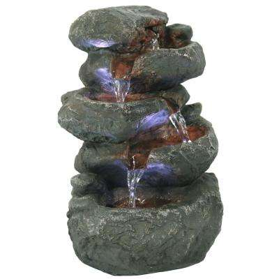 10.5 in. Stacked Rocks Tabletop Fountain with LED Lights