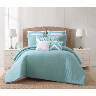 Beach 3-Piece Teal and White King Duvet Cover Set