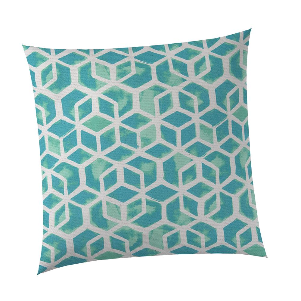 Teal Cubed Square Outdoor Throw Pillow