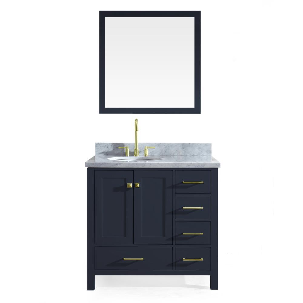 Ariel 37 in. W x 22 in. D Bath Vanity in Midnight Blue w/ Marble Vanity Top in Carrara White w/ White Basin and Mirror