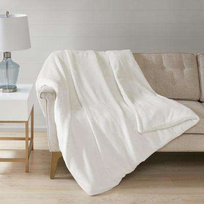 60 in. x 70 in. 12 lbs. Ivory Plush Weighted Blanket
