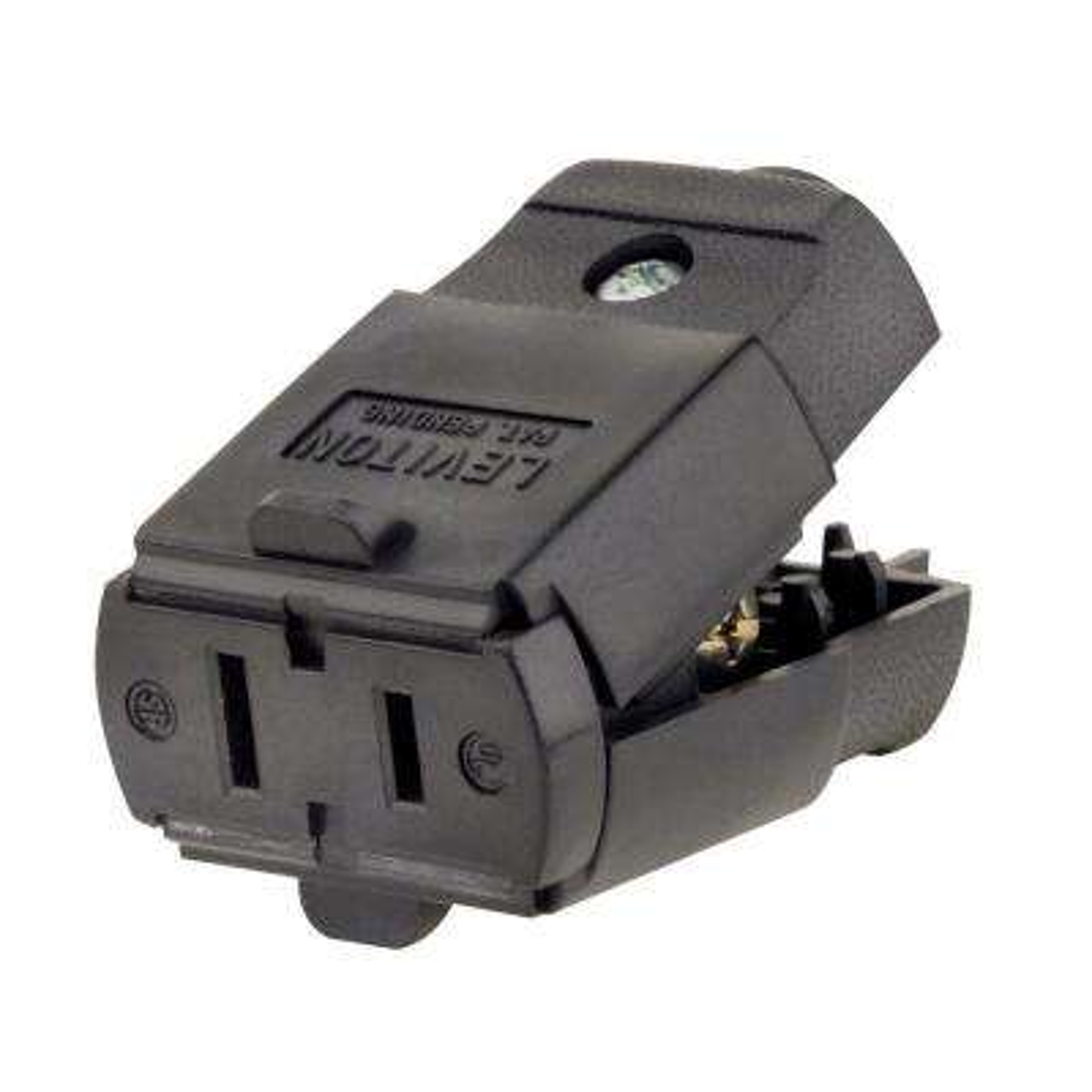 15 Amp 125-Volt Light Duty Polarized Connector, Black