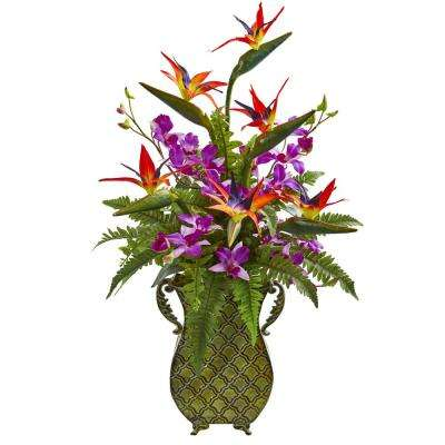 Indoor Bird of Paradise, Orchid and Fern Artificial Arrangement in Metal Planter