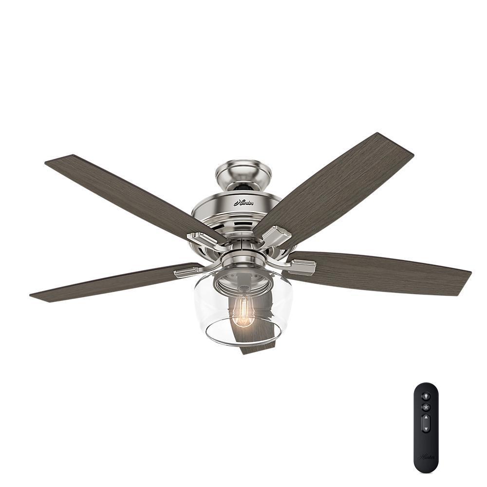 hunter ceiling fan light kit 52 in led indoor brushed nickel ceiling 10655