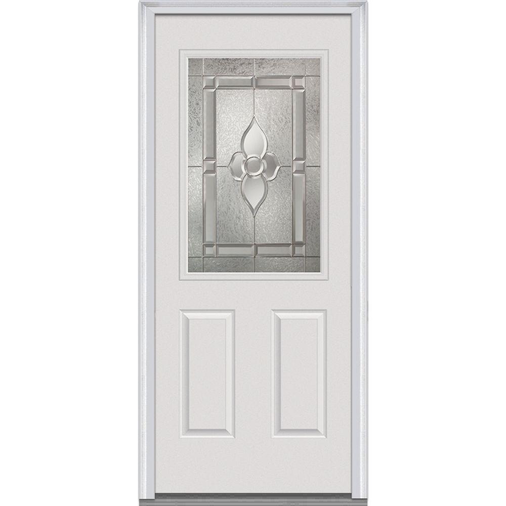 Milliken Millwork 36 in. x 80 in. Master Nouveau Decorative Glass 1/2 Lite 2-Panel Primed White Steel Prehung Front Door