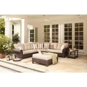 Mill Valley 4-Piece Patio Sectional Set with Parchment Cushions