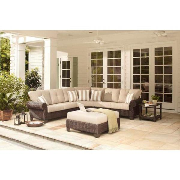 Hampton Bay Mill Valley 4-Piece Patio Sectional Set with Parchment Cushions