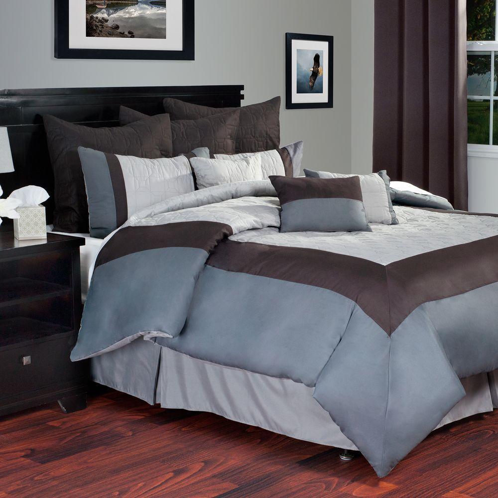 Lavish Home Hotel Gray 10-Piece King Comforter Set