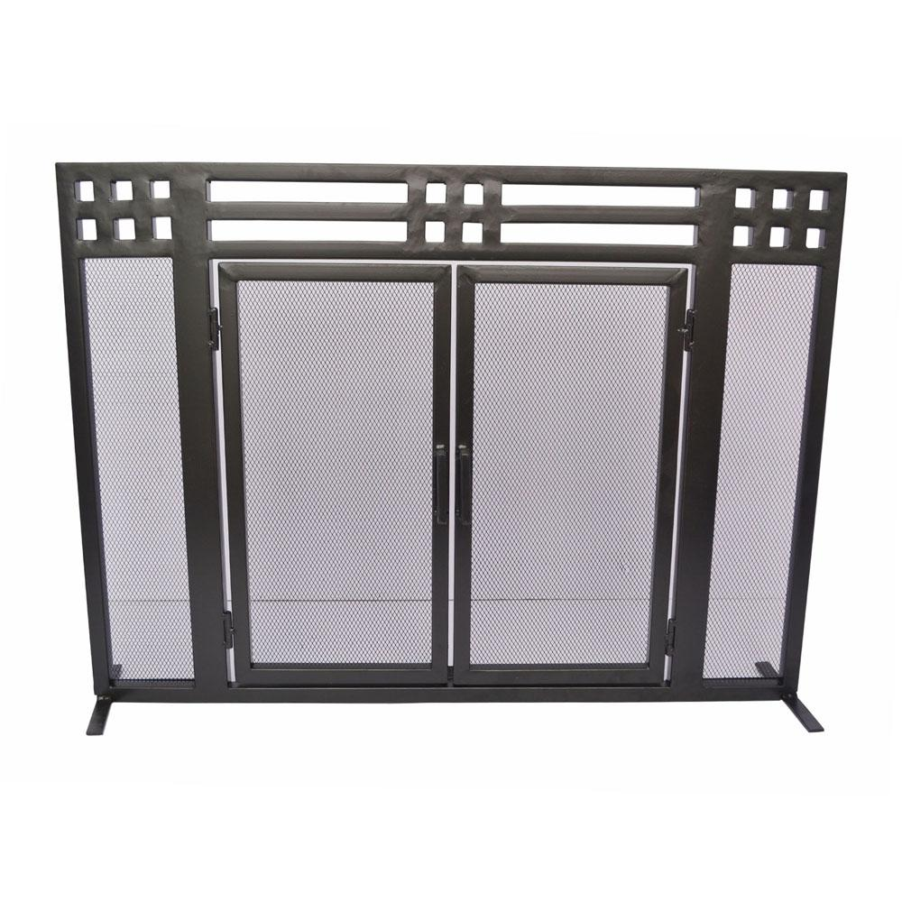 Layton Black Single-Panel Fireplace Screen