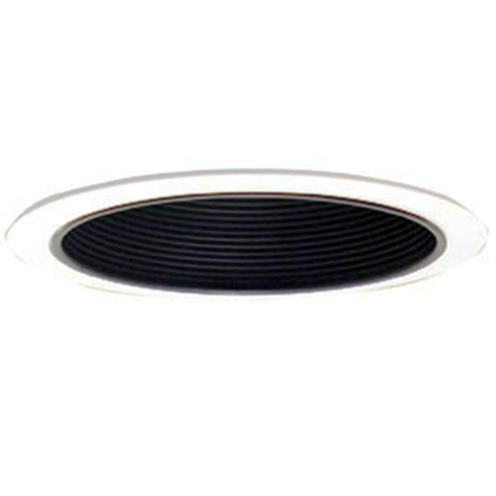Design House 6 in. White Recessed Lighting Narrow Ring Trim with Black Baffle