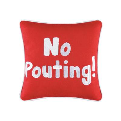 Red  10 in.  x 10 in. No Pouting Pillow