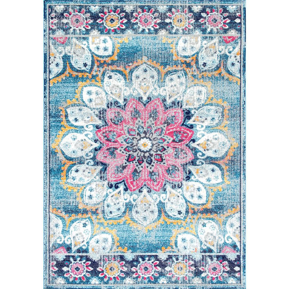 Nuloom Remade Distressed Overdyed Turquoise Area Rug: NuLOOM Vintage Floral Kiyoko Turquoise 9 Ft. X 12 Ft. Area